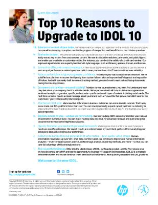 Top 10 Reasons to Upgrade to IDOL 10