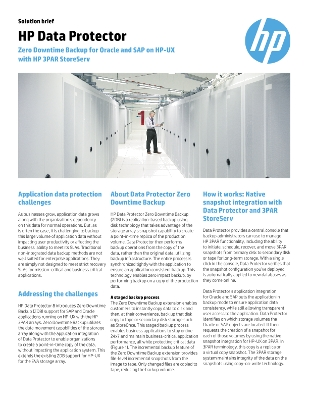 HP Data Protector - Zero downtime backup for Oracle and SAP on HP-UX with HP 3PAR StoreServ