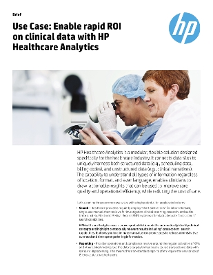 Use Case: Enable rapid ROI on clinical data with the HP Healthcare Analytics platform